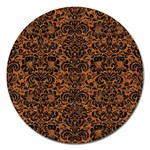 DAMASK2 BLACK MARBLE & RUSTED METAL Magnet 5  (Round) Front