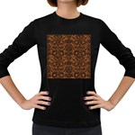 DAMASK2 BLACK MARBLE & RUSTED METAL Women s Long Sleeve Dark T-Shirts Front