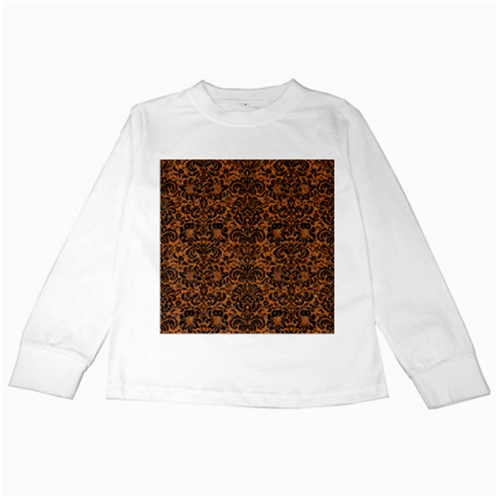 DAMASK2 BLACK MARBLE & RUSTED METAL Kids Long Sleeve T-Shirts