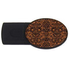 Damask2 Black Marble & Rusted Metal Usb Flash Drive Oval (4 Gb) by trendistuff