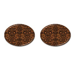 DAMASK2 BLACK MARBLE & RUSTED METAL Cufflinks (Oval)