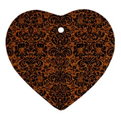 Damask2 Black Marble & Rusted Metal Heart Ornament (two Sides) by trendistuff
