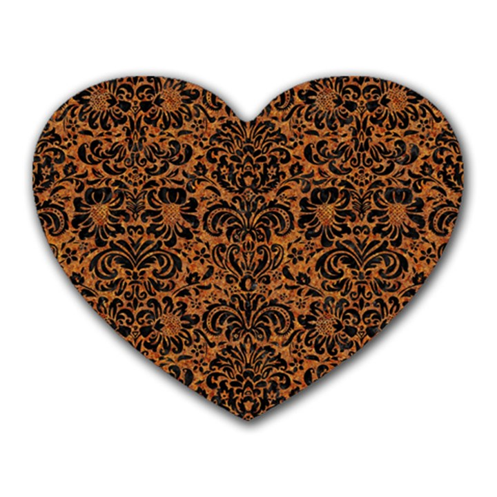 DAMASK2 BLACK MARBLE & RUSTED METAL Heart Mousepads