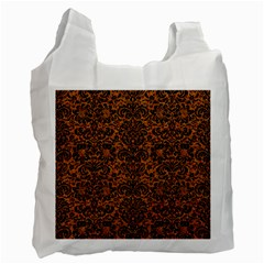 Damask2 Black Marble & Rusted Metal Recycle Bag (two Side)  by trendistuff