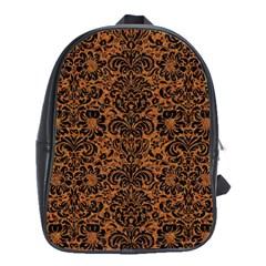 Damask2 Black Marble & Rusted Metal School Bag (large)