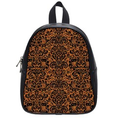 Damask2 Black Marble & Rusted Metal School Bag (small)