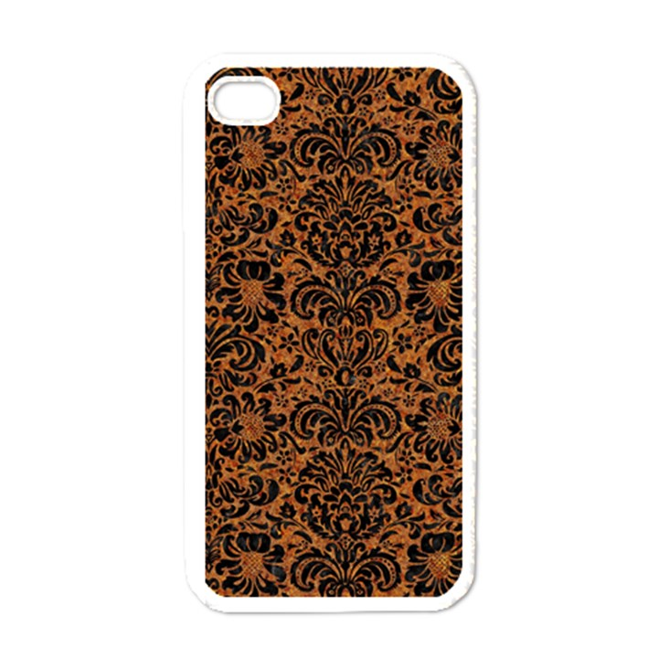 DAMASK2 BLACK MARBLE & RUSTED METAL Apple iPhone 4 Case (White)