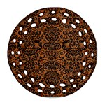 DAMASK2 BLACK MARBLE & RUSTED METAL Round Filigree Ornament (Two Sides) Front