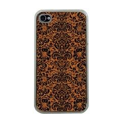 Damask2 Black Marble & Rusted Metal Apple Iphone 4 Case (clear) by trendistuff