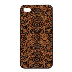 Damask2 Black Marble & Rusted Metal Apple Iphone 4/4s Seamless Case (black) by trendistuff