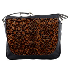 Damask2 Black Marble & Rusted Metal Messenger Bags