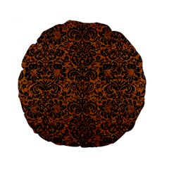 Damask2 Black Marble & Rusted Metal Standard 15  Premium Round Cushions