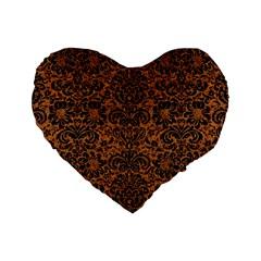Damask2 Black Marble & Rusted Metal Standard 16  Premium Heart Shape Cushions