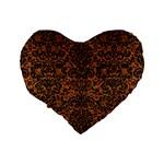 DAMASK2 BLACK MARBLE & RUSTED METAL Standard 16  Premium Heart Shape Cushions Back