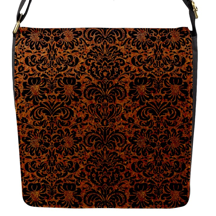 DAMASK2 BLACK MARBLE & RUSTED METAL Flap Messenger Bag (S)