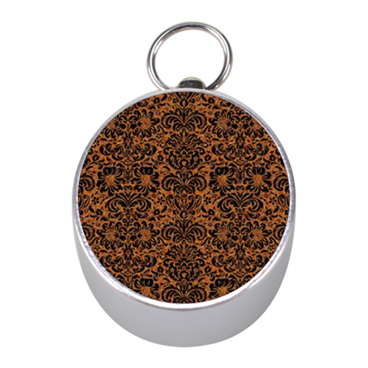DAMASK2 BLACK MARBLE & RUSTED METAL Mini Silver Compasses