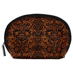 Damask2 Black Marble & Rusted Metal Accessory Pouches (large)  by trendistuff