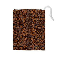Damask2 Black Marble & Rusted Metal Drawstring Pouches (large)  by trendistuff