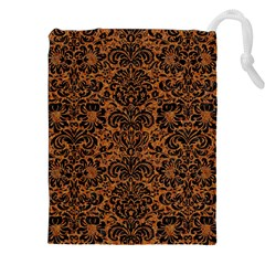 Damask2 Black Marble & Rusted Metal Drawstring Pouches (xxl) by trendistuff
