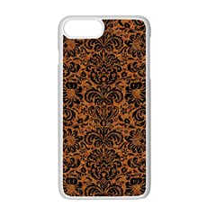Damask2 Black Marble & Rusted Metal Apple Iphone 7 Plus White Seamless Case by trendistuff