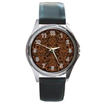 DAMASK2 BLACK MARBLE & RUSTED METAL (R) Round Metal Watch