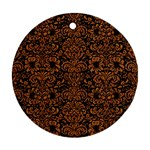 DAMASK2 BLACK MARBLE & RUSTED METAL (R) Ornament (Round)