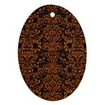 DAMASK2 BLACK MARBLE & RUSTED METAL (R) Ornament (Oval) Front