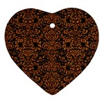 DAMASK2 BLACK MARBLE & RUSTED METAL (R) Ornament (Heart)