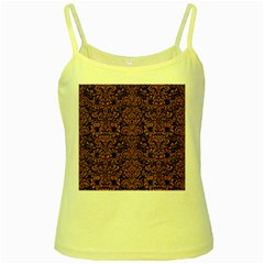 Damask2 Black Marble & Rusted Metal (r) Yellow Spaghetti Tank