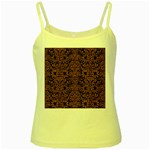 DAMASK2 BLACK MARBLE & RUSTED METAL (R) Yellow Spaghetti Tank Front