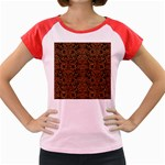 DAMASK2 BLACK MARBLE & RUSTED METAL (R) Women s Cap Sleeve T-Shirt