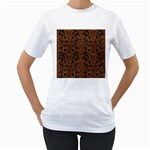 DAMASK2 BLACK MARBLE & RUSTED METAL (R) Women s T-Shirt (White) (Two Sided)