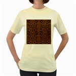 DAMASK2 BLACK MARBLE & RUSTED METAL (R) Women s Yellow T-Shirt