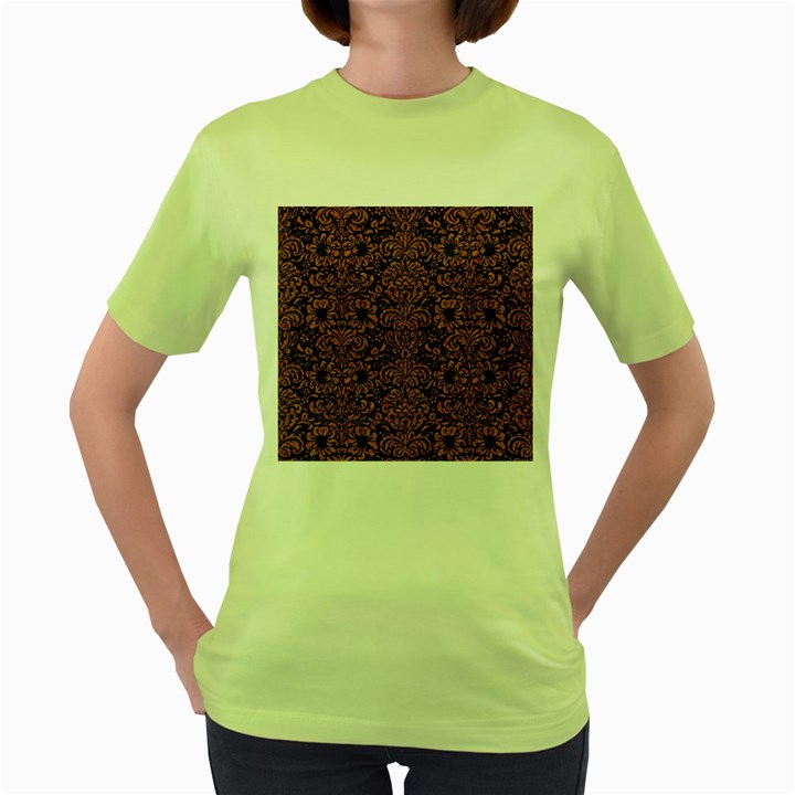 DAMASK2 BLACK MARBLE & RUSTED METAL (R) Women s Green T-Shirt