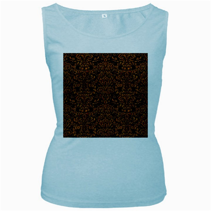 DAMASK2 BLACK MARBLE & RUSTED METAL (R) Women s Baby Blue Tank Top