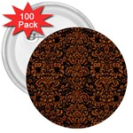 DAMASK2 BLACK MARBLE & RUSTED METAL (R) 3  Buttons (100 pack)