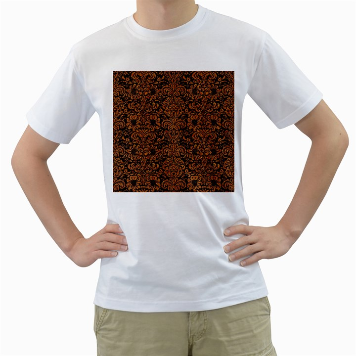 DAMASK2 BLACK MARBLE & RUSTED METAL (R) Men s T-Shirt (White) (Two Sided)