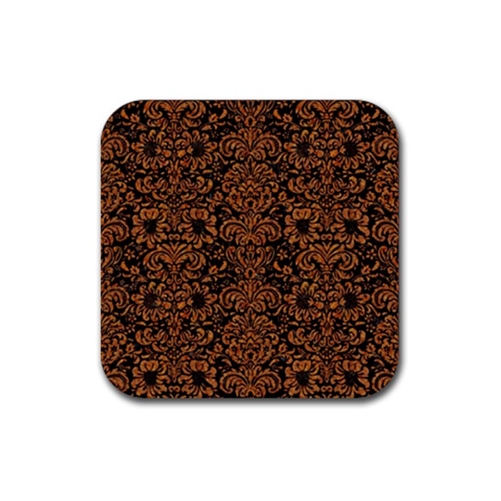 DAMASK2 BLACK MARBLE & RUSTED METAL (R) Rubber Coaster (Square)