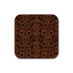 Damask2 Black Marble & Rusted Metal (r) Rubber Square Coaster (4 Pack)  by trendistuff