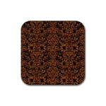 DAMASK2 BLACK MARBLE & RUSTED METAL (R) Rubber Square Coaster (4 pack)
