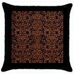 DAMASK2 BLACK MARBLE & RUSTED METAL (R) Throw Pillow Case (Black)
