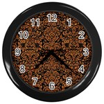 DAMASK2 BLACK MARBLE & RUSTED METAL (R) Wall Clocks (Black)