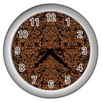 DAMASK2 BLACK MARBLE & RUSTED METAL (R) Wall Clocks (Silver)