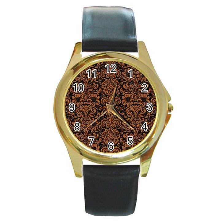 DAMASK2 BLACK MARBLE & RUSTED METAL (R) Round Gold Metal Watch