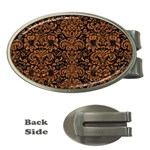 DAMASK2 BLACK MARBLE & RUSTED METAL (R) Money Clips (Oval)