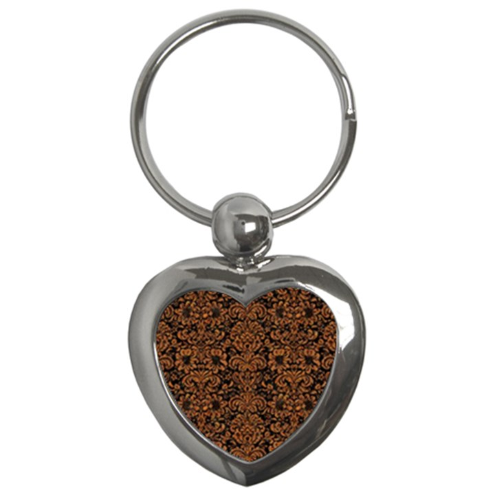 DAMASK2 BLACK MARBLE & RUSTED METAL (R) Key Chains (Heart)