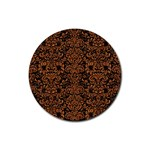 DAMASK2 BLACK MARBLE & RUSTED METAL (R) Rubber Coaster (Round)