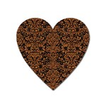 DAMASK2 BLACK MARBLE & RUSTED METAL (R) Heart Magnet