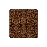 DAMASK2 BLACK MARBLE & RUSTED METAL (R) Square Magnet