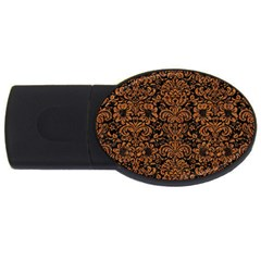 Damask2 Black Marble & Rusted Metal (r) Usb Flash Drive Oval (2 Gb) by trendistuff